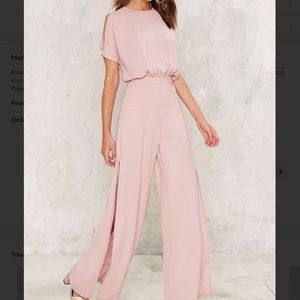 RENAMED|| PINK SLIT WIDE LEG JUMPSUIT